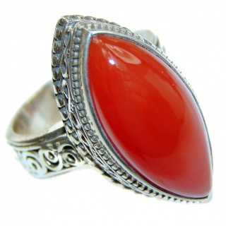 Genuine Carnelian .925 Sterling Silver handmade Ring Size 8 1/4