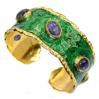Green Enamel Royalty African Tanzanite .925 Sterling Silver handcrafted Bracelet cuff