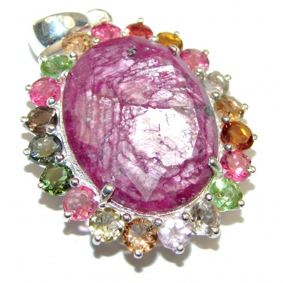 Authentic Kashmir Ruby multicolor Sapphire .925 Sterling Silver Pendant