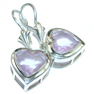 Pink Hearts Topaz .925 Sterling Silver handcrafted earrings