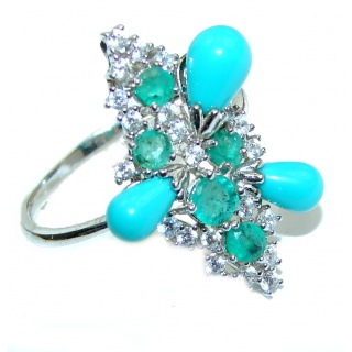 Posh Sleeping Beauty Turquoise .925 Sterling Silver handcrafted ring size 9