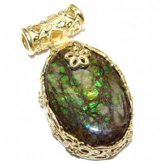 One of the kind genuine Canadian Ammolite 18K gold over .925 Sterling Silver handcrafted Pendant