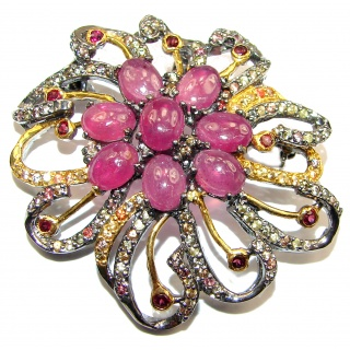 Vintage style Beauty genuine Ruby Tourmaline 2 tones .925 Sterling Silver handmade LARGE Pendant - Brooch