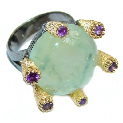 Natural Moss Prehnite 14K Gold over .925 Sterling Silver handmade ring s. 6 1/4