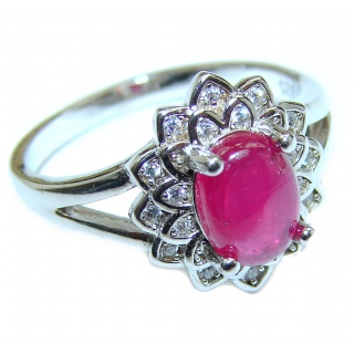 Genuine 2 ctw Ruby .925 Sterling Silver handcrafted Statement Ring size 7