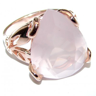 Pear Cut 25ctw Rose Quartz Rose Gold over .925 Sterling Silver brilliantly handcrafted ring s. 6 1/4