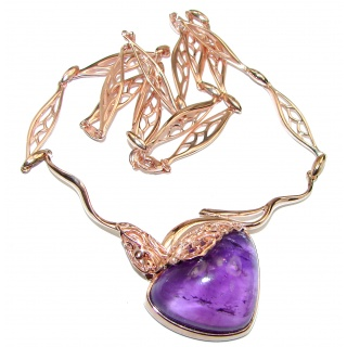 Great genuine Amethyst Rose Gold over .925 Sterling Silver handmade Necklace
