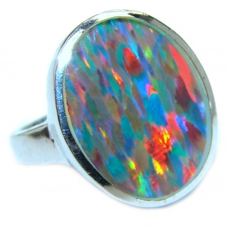 Australian Triplet Opal .925 Sterling Silver handcrafted ring size 6