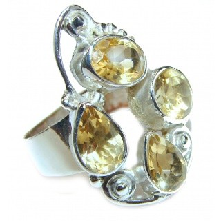 Vintage Style Natural Citrine Sapphire .925 Sterling Silver handcrafted Ring s. 8 1/4