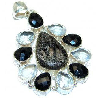 Carmen Champagne Topaz Tourmalinated quartz .925 Sterling Silver handmade incredible Pendant