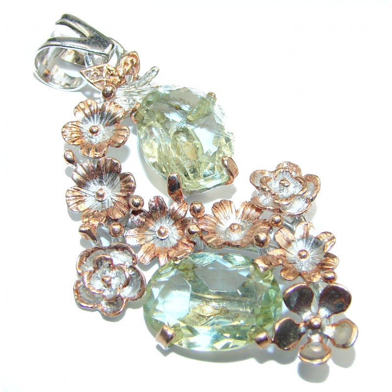 Amazing Green Amethyst Rose Gold over .925 Sterling Silver handcrafted pendant