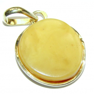 Natural Baltic Butterscotch Amber 18K GOLD OVER .925 Sterling Silver handmade Pendant