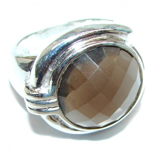Very Bold Champagne Smoky Topaz .925 Sterling Silver Ring size 7 3/4