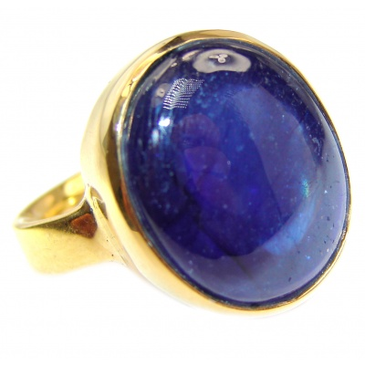 Large Genuine 35ctw Sapphire 18K Gold over .925 Sterling Silver handcrafted Statement Ring size 7 1/4