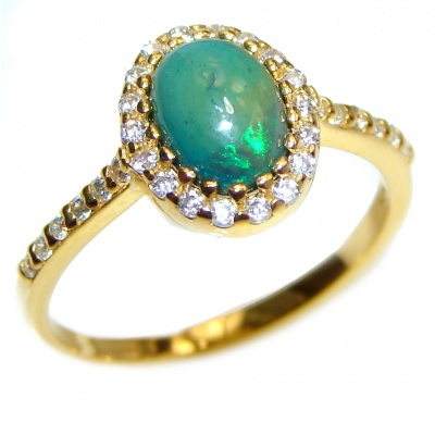 Vintage Design 3.5ctw Genuine Black Opal 18K Gold over .925 Sterling Silver handmade Ring size 7 1/2