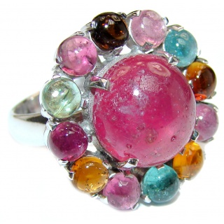 Genuine 14 ctw Star Ruby Watermelon Tourmaline .925 Sterling Silver handcrafted Statement Ring size 7
