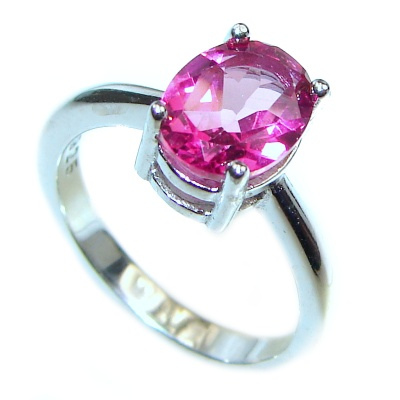 Perfect and Simple Pink Sapphire .925 Sterling Silver Ring s. 6 1/4