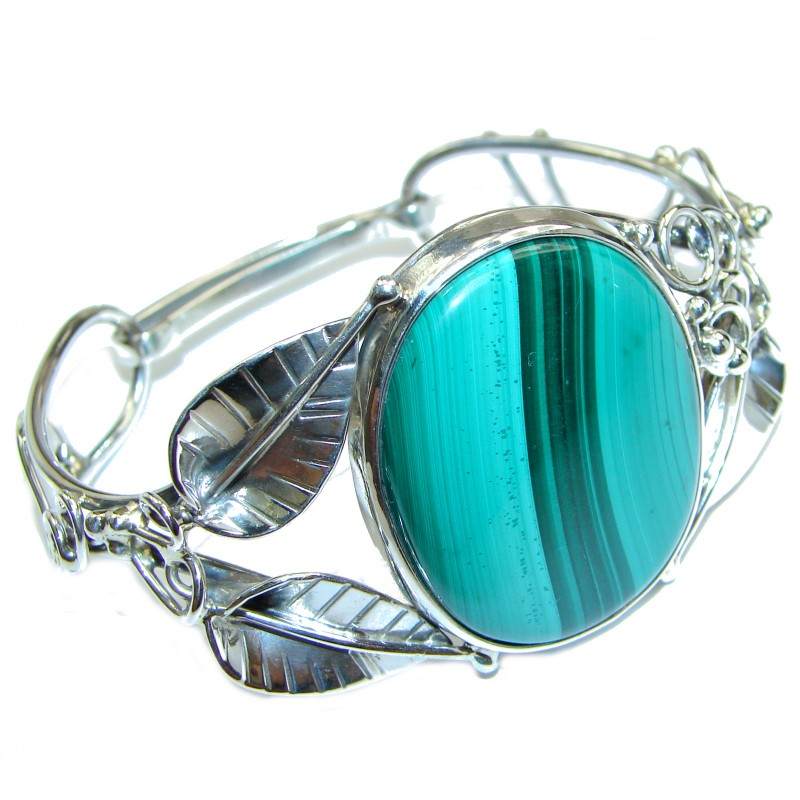 Fabulous Great Green Malachite .925 Sterling Silver handcrafted Bracelet