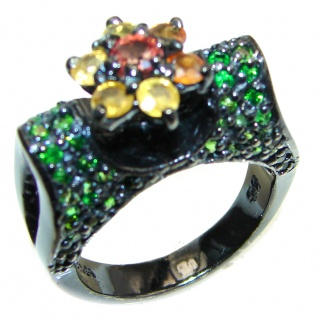 Fancy multicolor Sapphire black rhodium over .925 Sterling Silver handcrafted ring size 8