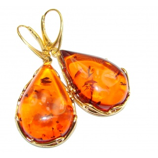 Juicy Genuine Baltic Amber 14K Gold over .925 Sterling Silver Large Earrings