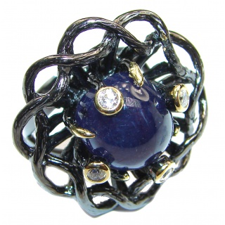 Large Genuine Sapphire Black rhodium over .925 Sterling Silver handcrafted Statement Ring size 8 1/4