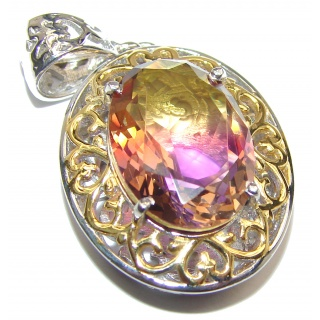 Deluxe oval cut Ametrine color Topaz 18K Gold over .925 Sterling Silver handmade Pendant