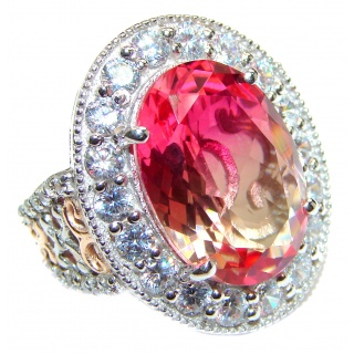 Huge Top Quality Volcanic Pink Tourmaline 18K Gold over .925 Sterling Silver handcrafted Ring s. 8 1/2