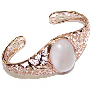Incredible Genuine 45CTW Rose Quartz Rose quartz .925 Sterling Silver handcrafted Bracelet / Cuff
