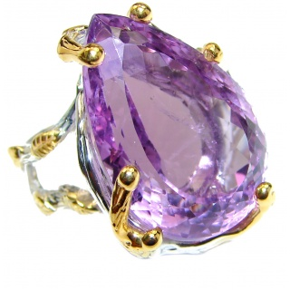 Massive 85ctw authentic Amethyst 18K Gold over .925 Sterling Silver Ring size 7