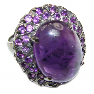 Alessandra Natural Amethyst black rhodium .925 Sterling Silver handcrafted ring size 8