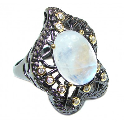 Fire Moonstone Peridot black rhodium over .925 Sterling Silver handmade ring s. 8 1/4