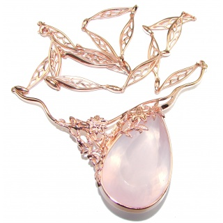 Large Master Piece genuine 175.5 ctw Mexican Opal Rose Gold over .925 Sterling Silver brilliantly handcrafted necklace