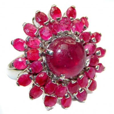 Genuine Ruby .925 Sterling Silver handcrafted Statement Ring size 8
