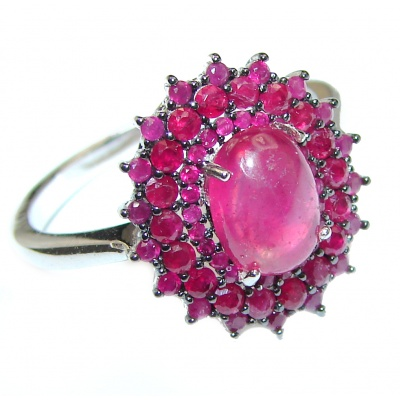 Genuine 8 ctw Ruby .925 Sterling Silver handcrafted Statement Ring size 8