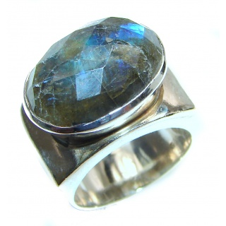 Vintage Design Genuine Labradorite .925 Sterling Silver handmade Cocktail Ring s. 7