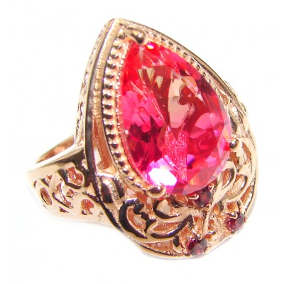 Pear cut Pink Tourmaline 18K Gold over .925 Sterling Silver handcrafted Ring s. 7 1/2
