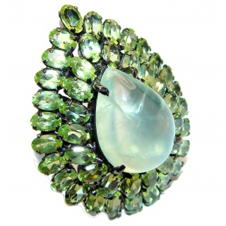 LARGE Natural Prehnite Peridot black rhodium over .925 Sterling Silver handmade ring s. 9