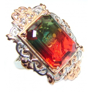 HUGE Emerald cut Watermelon Tourmaline 18k Gold over .925 Sterling Silver handcrafted Ring s. 7 1/2