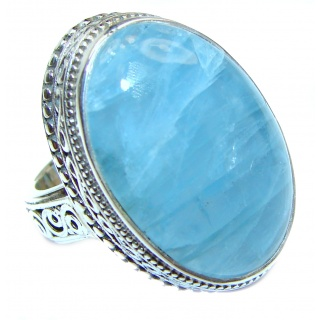 Real Treasure GENUINE Blue Aquamarine .925 Sterling Silver handmade ring s. 6 3/4