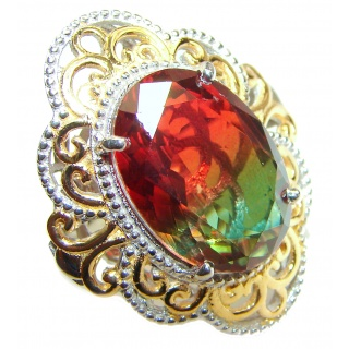 Huge Top Quality Volcanic Tourmaline 18K Gold over .925 Sterling Silver handcrafted Ring s. 7 3/4