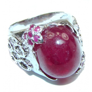 Large Genuine 88 ctw Ruby .925 Sterling Silver handcrafted Statement Ring size 7