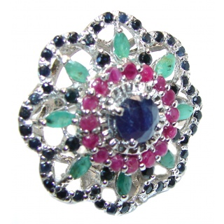 Large Genuine Sapphire Emerald Ruby .925 Sterling Silver handcrafted Statement Ring size 8 1/4
