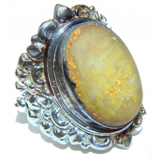 Vivid Beauty Yellow Bumble Bee oxidized .925 Jasper Sterling Silver ring s. 12 1/4