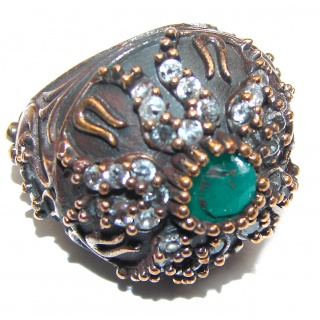 Victorian Style created Emerald & White Topaz Sterling Silver Ring s. 6