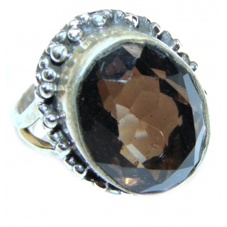 Very Bold Champagne Smoky Topaz .925 Sterling Silver Ring size 6