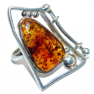 Excellent Vintage Design Baltic Amber .925 Sterling Silver handcrafted Ring s. 7 1/4