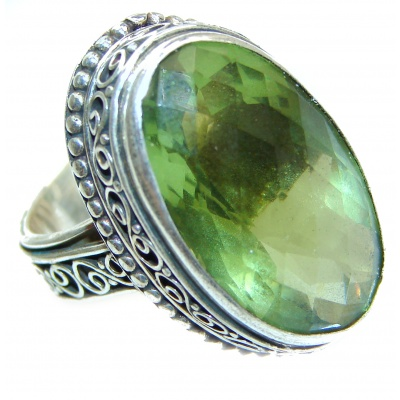 Huge Authentic green Quartz .925 Sterling Silver handcrafted ring s. 8