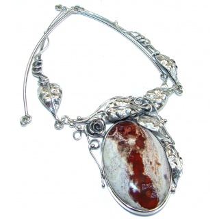Large Master Piece genuine 180 ct Mexican Opal .925 Sterling Silver brilliantly handcrafted necklace