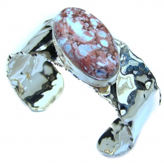 Top Quality Mexican Opal hammered .925 Sterling Silver handmade Bracelet / Cuff