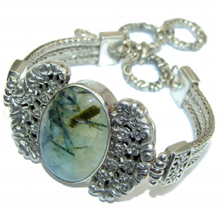 Green Ivy Moss Prehnite .925 Sterling Silver handcrafted Bracelet